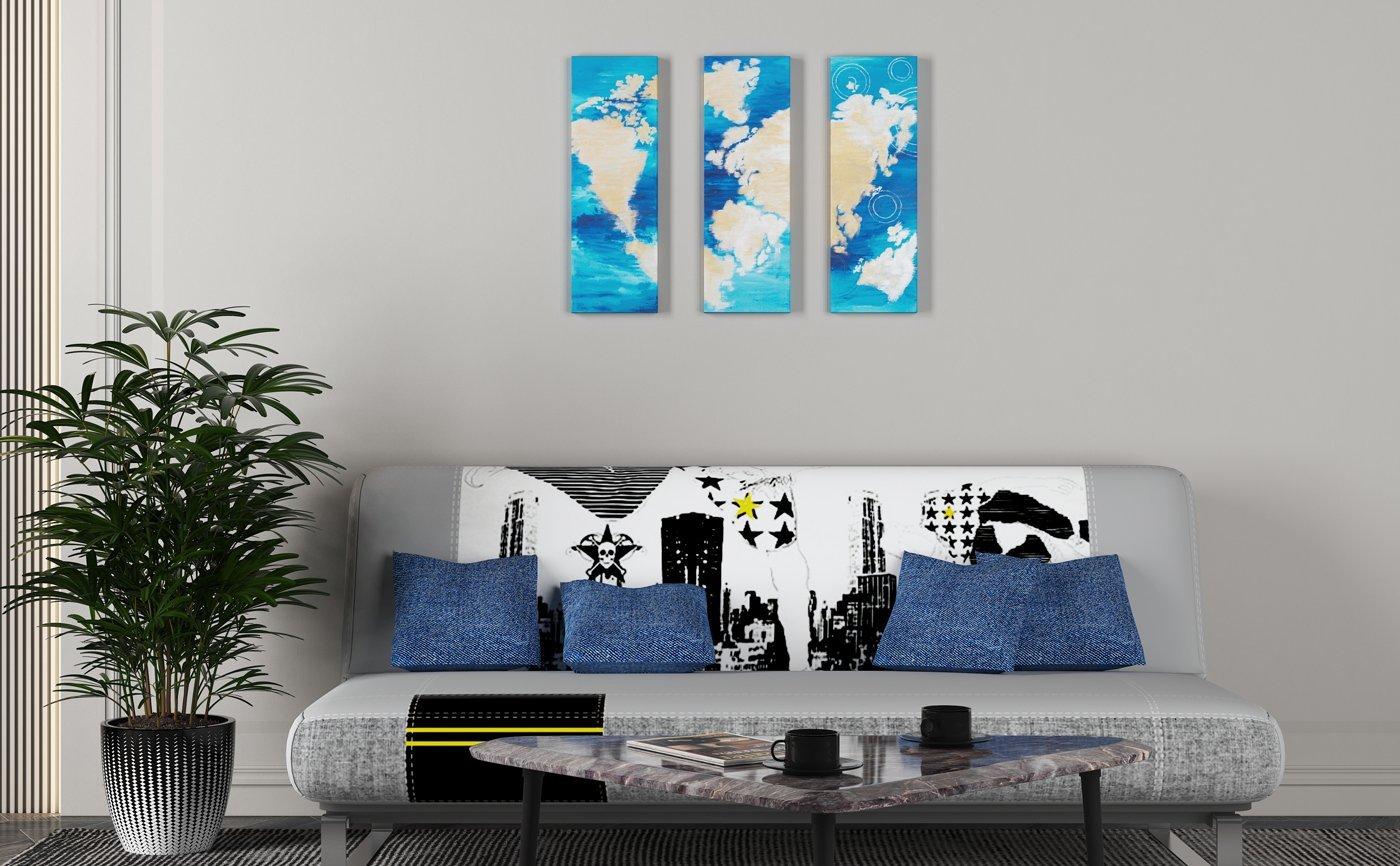Abstrakt kunst Bild Set Ein anderes Mal, eine andere Welt