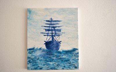 Zeichnung Schwarzes Seeschiff