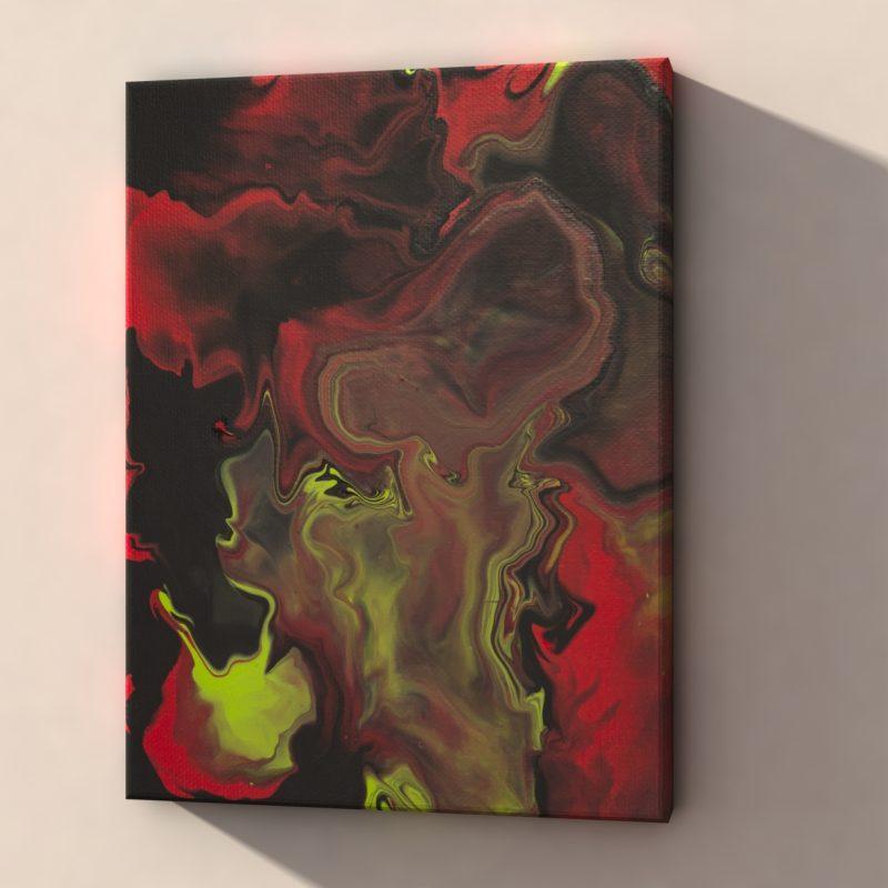 Abstrakt Bilder Grün Rot